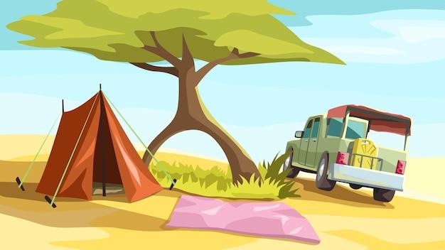木の近くの暑い砂漠でトラックとサマーキャンプのイラスト