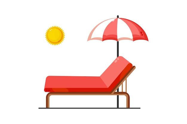 Иллюстрация шезлонгов и зонтиков