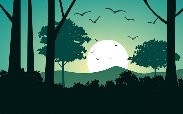 森の中の夕日のイラスト