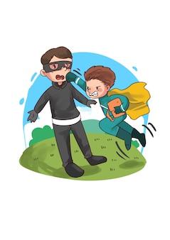 泥棒を殴るスーパーヒーローの子供のイラスト