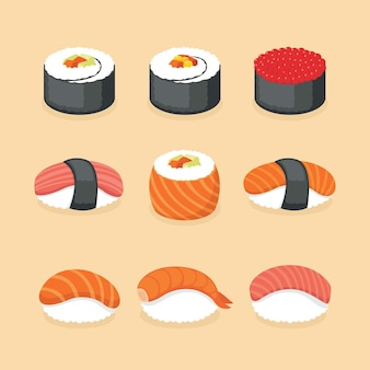 Иллюстрация суши с водорослями, рыбой, креветками и икрой