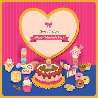 バレンタインデーの甘い愛のデザートのイラスト