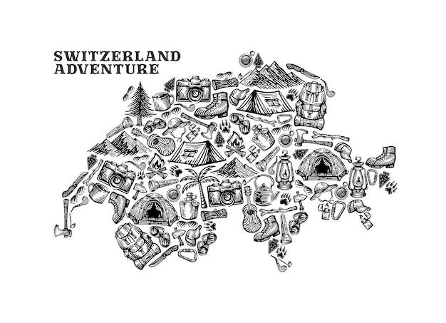キャンプ要素を持つスイスの国のイラスト