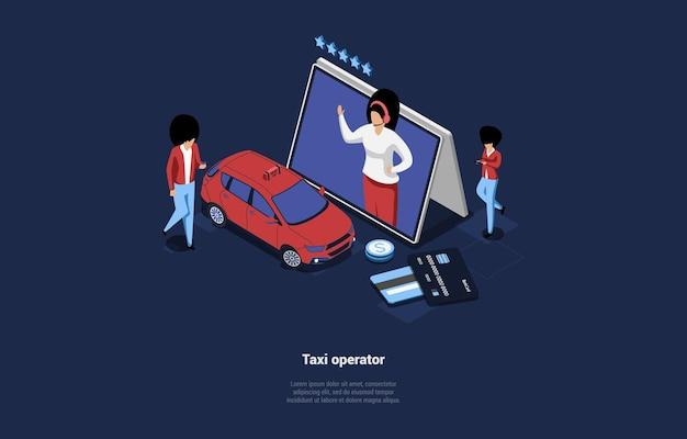漫画の3dスタイルでタクシー会社のアプリオペレーターのイラスト。タブレットpc画面上の自動車労働者のキャラクターの近くに立つ女性