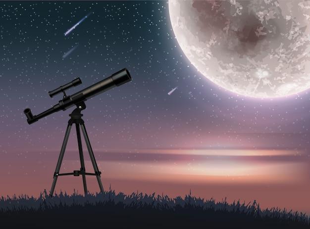 Иллюстрация телескопа на закате звездного неба с падающими метеоритами и большой полной сияющей луной
