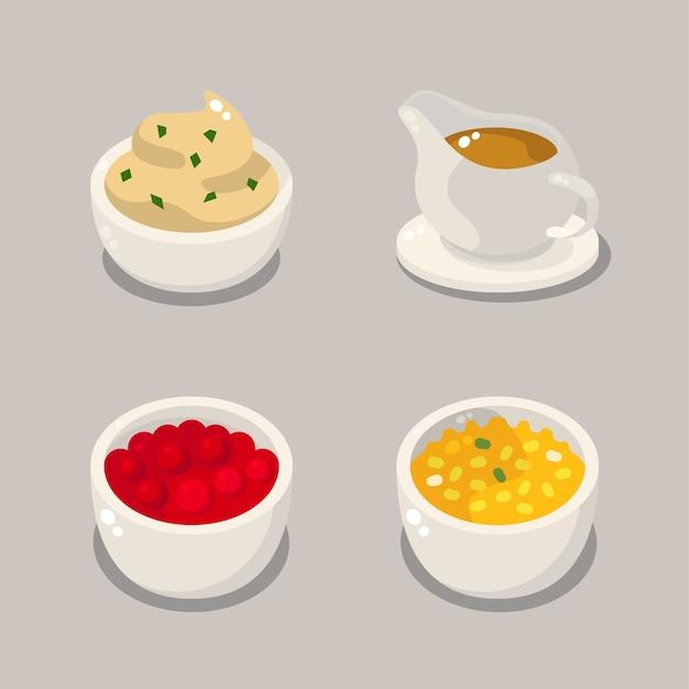感謝祭の食べ物のイラスト。マッシュポテト、グレービー、クランベリーソース、クリームコーンを含みます。