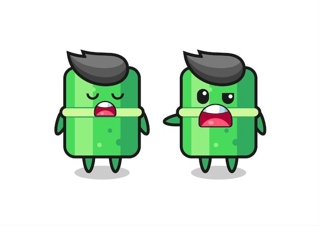 Иллюстрация спора между двумя милыми персонажами из бамбука, симпатичный дизайн футболки, стикер, элемент логотипа