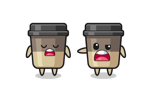 두 명의 귀여운 커피 컵 캐릭터 사이의 논쟁, 티셔츠, 스티커, 로고 요소를 위한 귀여운 스타일 디자인