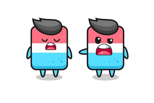 두 개의 귀여운 지우개 캐릭터 사이의 논쟁, 티셔츠, 스티커, 로고 요소를 위한 귀여운 스타일 디자인