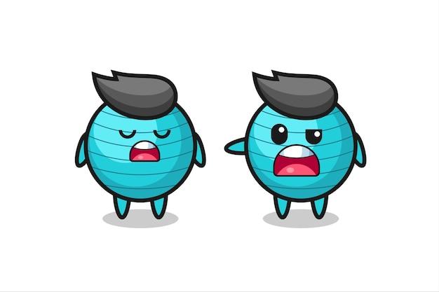Иллюстрация спора между двумя симпатичными персонажами мяча для упражнений, симпатичный дизайн футболки, стикер, элемент логотипа