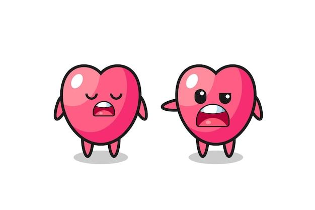 두 개의 귀여운 하트 기호 문자, 티셔츠, 스티커, 로고 요소를 위한 귀여운 스타일 디자인 간의 논쟁에 대한 그림