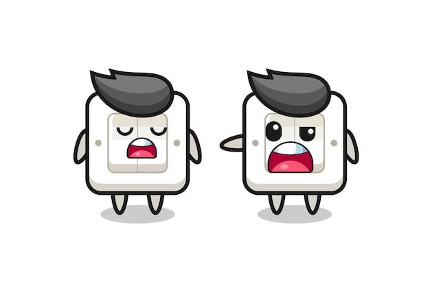 두 개의 귀여운 전등 스위치 캐릭터 사이의 논쟁, 티셔츠, 스티커, 로고 요소를 위한 귀여운 스타일 디자인