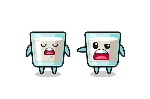 두 명의 귀여운 우유 캐릭터 사이의 논쟁, 티셔츠, 스티커, 로고 요소를 위한 귀여운 스타일 디자인
