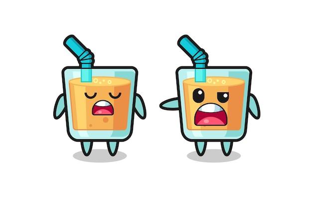 두 명의 귀여운 오렌지 주스 캐릭터 사이의 논쟁, 티셔츠, 스티커, 로고 요소를 위한 귀여운 스타일 디자인
