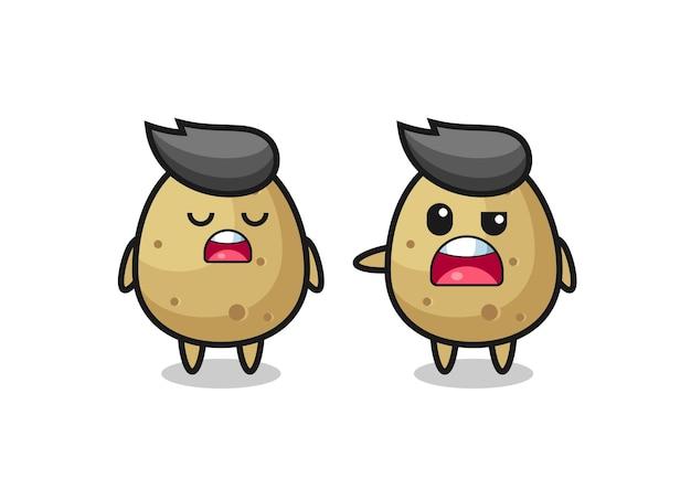두 귀여운 감자 캐릭터 사이의 논쟁, 티셔츠, 스티커, 로고 요소를 위한 귀여운 스타일 디자인
