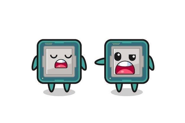 두 명의 귀여운 프로세서 캐릭터 사이의 논쟁, 티셔츠, 스티커, 로고 요소를 위한 귀여운 스타일 디자인
