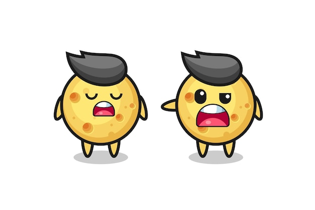 두 명의 귀여운 둥근 치즈 캐릭터 사이의 논쟁, 티셔츠, 스티커, 로고 요소를 위한 귀여운 스타일 디자인