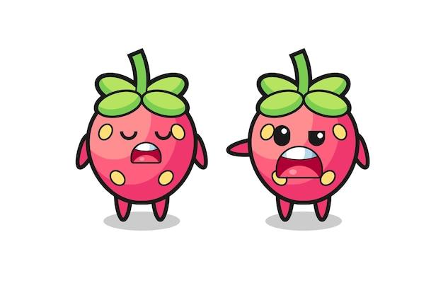 두 귀여운 딸기 캐릭터 사이의 논쟁, 티셔츠, 스티커, 로고 요소를 위한 귀여운 스타일 디자인