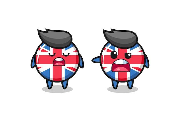 2つのかわいいイギリス国旗のバッジのキャラクター、tシャツ、ステッカー、ロゴ要素のかわいいスタイルのデザインの間の議論のイラスト