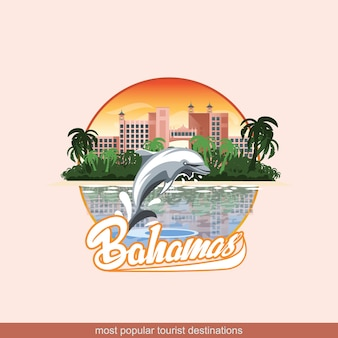 イルカとホテルで遊ぶバハマのイラスト