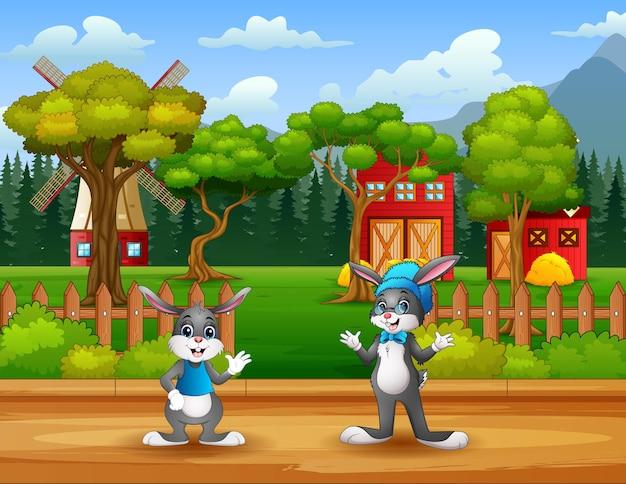 Иллюстрация кроликов, стоящих перед фермой