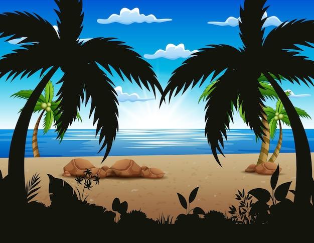 朝のビーチでココナッツの木のイラスト