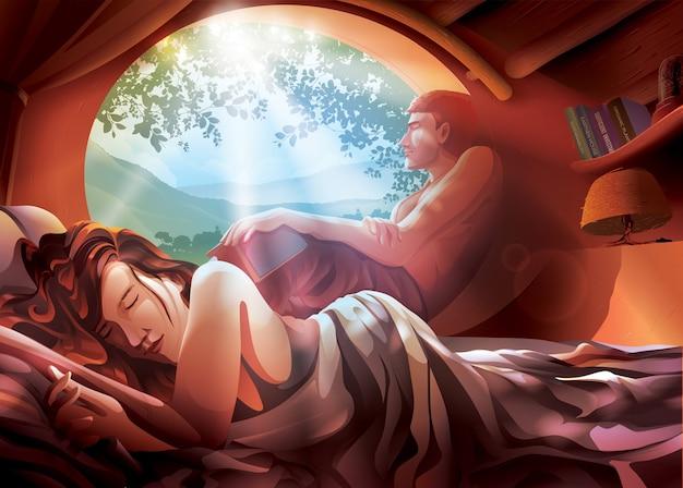ベッドの上のカップルのイラスト
