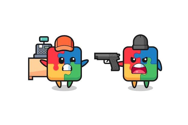 レジ係としてのかわいいパズルのイラストは強盗によって銃を向けられ、tシャツ、ステッカー、ロゴ要素のかわいいスタイルのデザイン