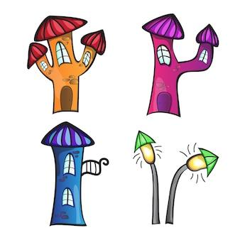 Иллюстрация различных мультяшных домов на белом фоне для детской книги