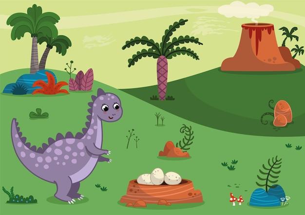 Иллюстрация динозавра в доисторической эпохе тема векторные иллюстрации