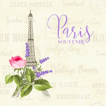 Иллюстрация эйфелевой башни на старинном фоне с цветами.