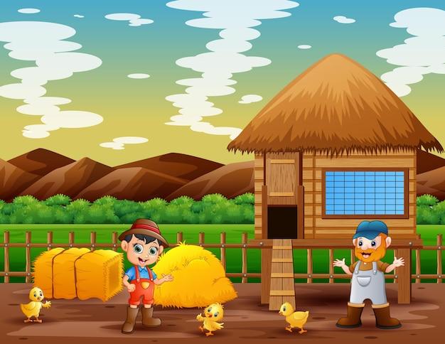 농장에서 농부와 닭장의 그림
