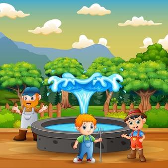 噴水の近くに立っている農民のイラスト
