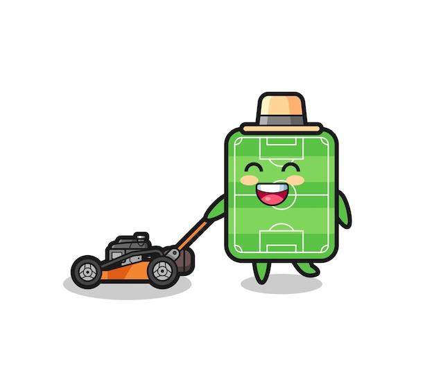 芝刈り機を使用したサッカー場のキャラクターのイラスト、tシャツ、ステッカー、ロゴ要素のかわいいスタイルのデザイン