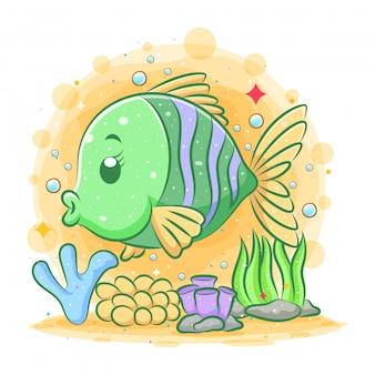 Иллюстрация зеленой золотой рыбки под красивым морем
