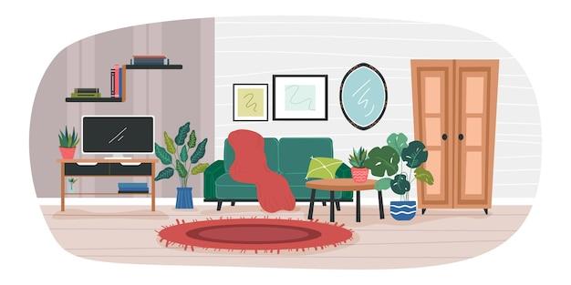 家の内部のイラスト。オフィスの電子機器、テレビ、鏡、写真、本、観葉植物で飾られたリビングルーム。モダンな家具と形。