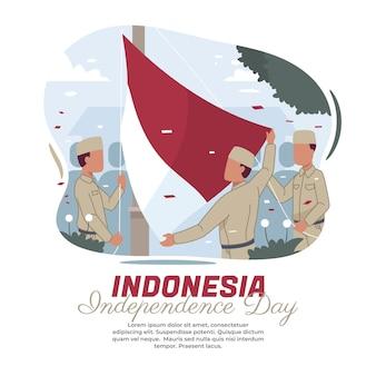 インドネシアの国旗掲揚式のイラスト
