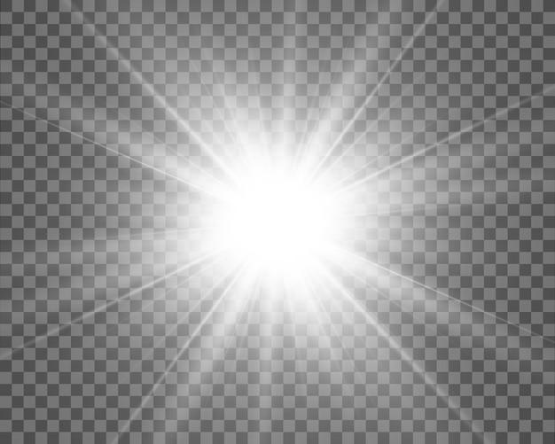 Иллюстрация света звезды для красивого изображения на прозрачном фоне, с бликами и красивым блеском