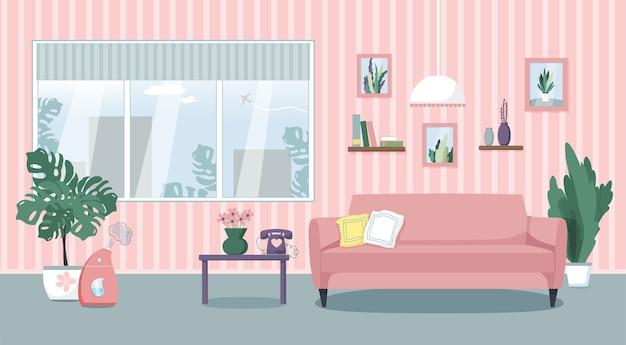 Иллюстрация интерьера гостиной. удобный диван, столик, окно, комнатные растения, увлажнитель воздуха. плоский стиль.