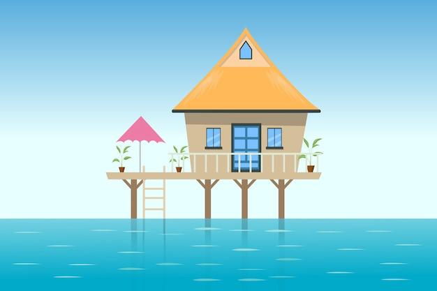 Иллюстрация домика на пляже