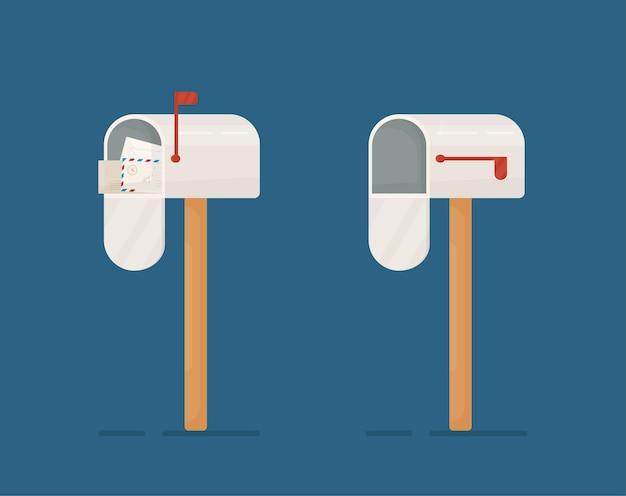 メールボックスの概念の図。白いメールボックスを開く