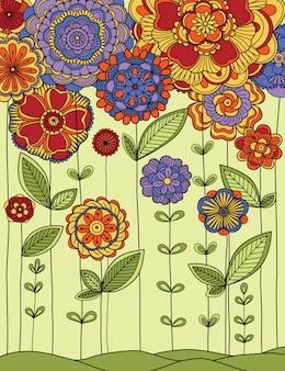 Иллюстрация луга с цветами