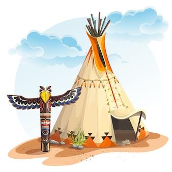 토템과 북미 인디언 티피 집의 그림