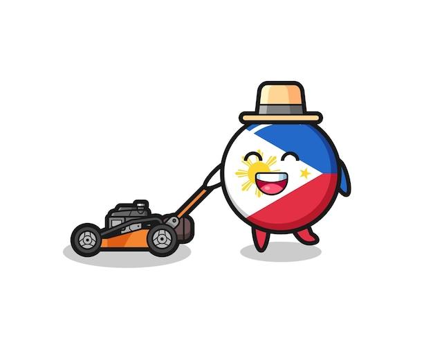 Иллюстрация символа значка флага филиппин, использующего газонокосилку, милый стиль дизайна для футболки, наклейки, элемента логотипа