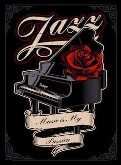 Иллюстрация фортепиано с розой и лентой в стиле татуировки. идеально подходит для принтов на рубашках. многослойный, текст выделен в отдельную группу.