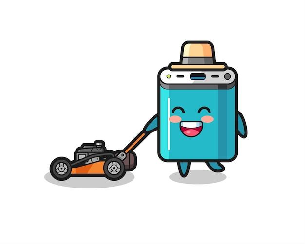 Иллюстрация персонажа power bank, использующего газонокосилку, симпатичный дизайн для футболки, наклейки, элемента логотипа