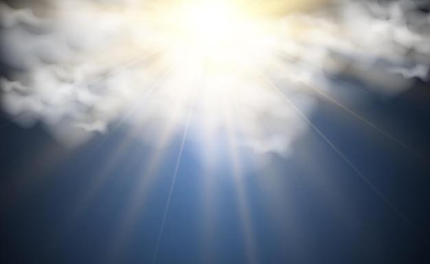 구름을 통해 빛나는 태양의 그림
