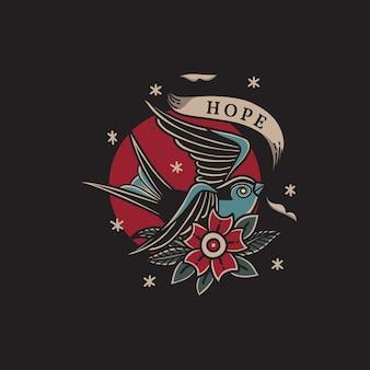 전통적인 올드 스쿨 문신 스타일로 희망의 리본을 가져오는 제비의 그림