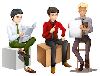 Illustration of the three men sitting down while reading, talking and holding an empty board on a white background