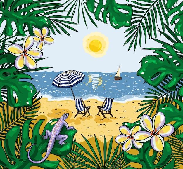 Иллюстрация вида на пляж с пляжным зонтиком и стульями